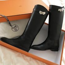 HERMES Kelly Round Toe Studded Leather Elegant Style Flat Boots