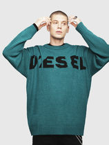 DIESEL Crew Neck Pullovers Blended Fabrics Street Style Bi-color