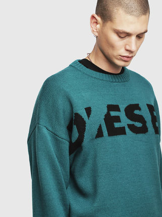 DIESEL Sweaters Crew Neck Pullovers Blended Fabrics Street Style Bi-color 3