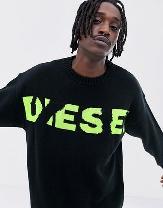 DIESEL Sweaters Crew Neck Pullovers Blended Fabrics Street Style Bi-color 8