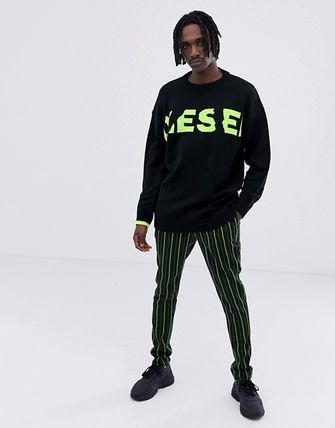 DIESEL Sweaters Crew Neck Pullovers Blended Fabrics Street Style Bi-color 9