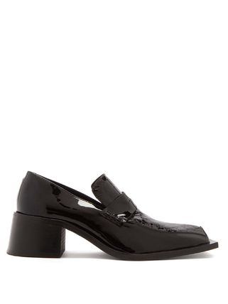 《MARTINE ROSE》Bagleys square-toe patent-leather loafers