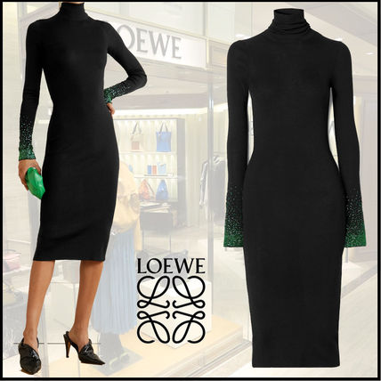 LOEWE Wool Long Sleeves Plain Medium Super-long Sleeves Dresses