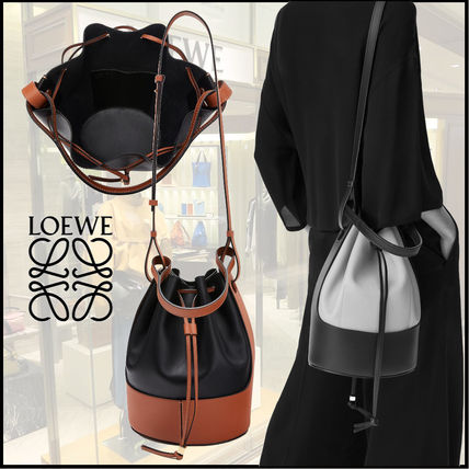 LOEWE BALLOON Calfskin Bi-color Plain Purses Crossbody Logo Bucket Bags