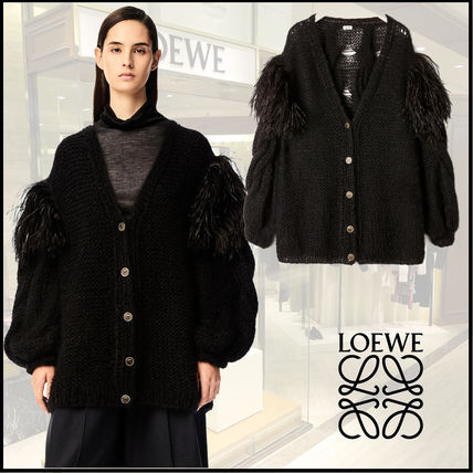 LOEWE Long Sleeves Plain Puff Sleeves Cardigans