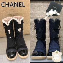 CHANEL Casual Style Mid Heel Boots