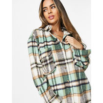 ASOS Gingham Casual Style Long Sleeves Shirt Dresses Oversized