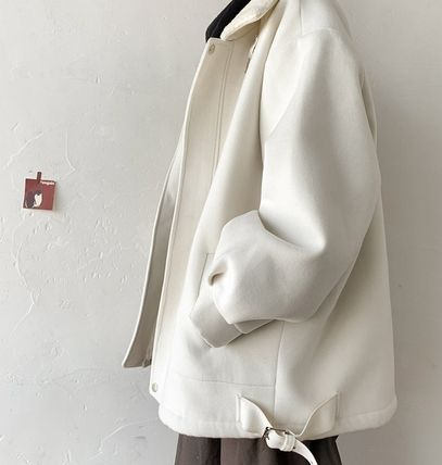 Street Style Plain Long Oversized Shearling Peacoats Coats