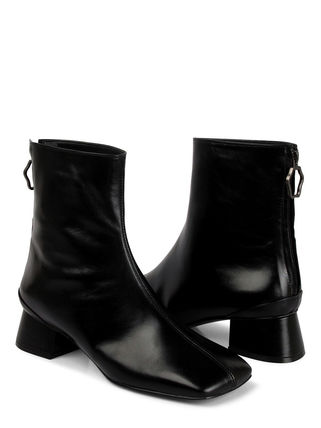 Square Toe Leather Chunky Heels Ankle & Booties Boots
