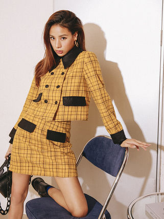 Short Other Plaid Patterns Casual Style Wool Street Style