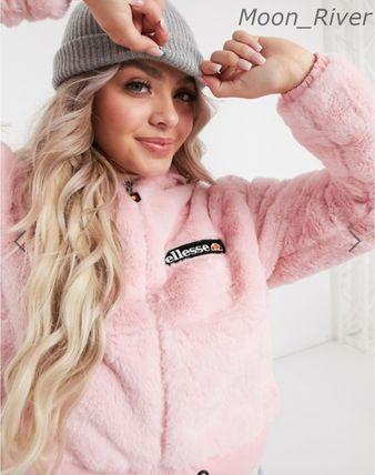 Short Casual Style Faux Fur Logo Jackets
