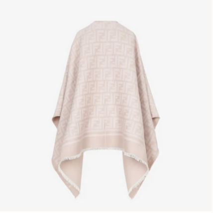 FENDI Wool Cashmere Medium Fringes Logo Ponchos & Capes