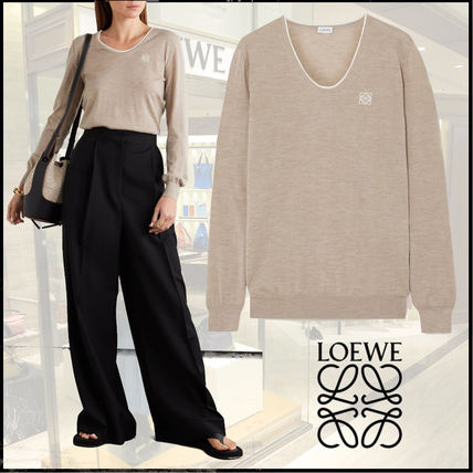 LOEWE Cashmere U-Neck Long Sleeves Plain Cotton Cashmere