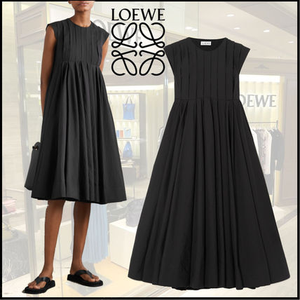 LOEWE Long Sleeves Plain Cotton Dresses