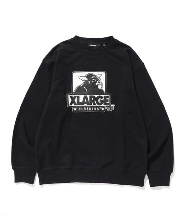 X-Large Crew Neck Pullovers Sweat Blended Fabrics U-Neck
