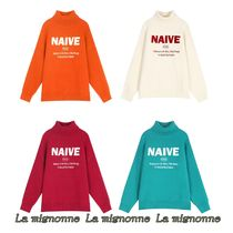 ELF SACK Casual Style Street Style Long Sleeves Turtlenecks