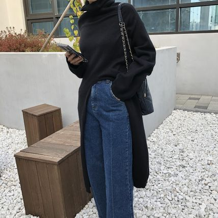 Casual Style Street Style Long Sleeves Plain Long High-Neck