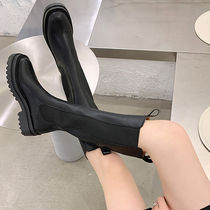Round Toe Casual Style Faux Fur Plain Chelsea Boots