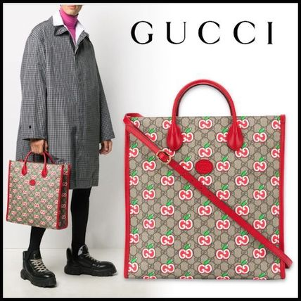 GUCCI Monogram Canvas Street Style 2WAY Leather Logo Totes
