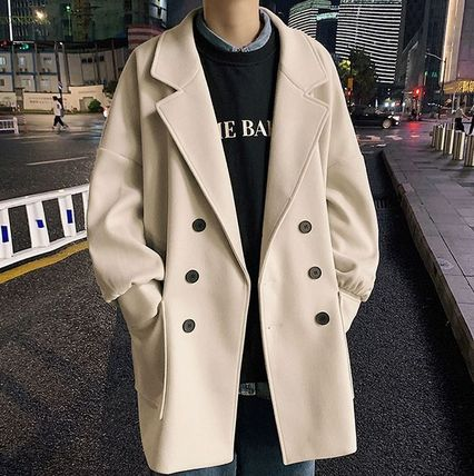 Short Unisex Plain Oversized Front Button Peacoats Coats