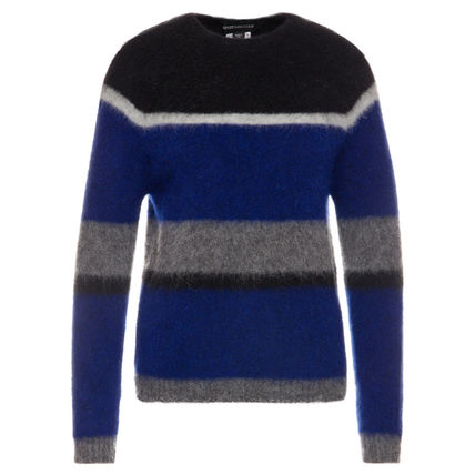 Crew Neck Short Stripes Casual Style Wool U-Neck