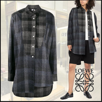 LOEWE Other Plaid Patterns Wool Long Sleeves Shirts & Blouses