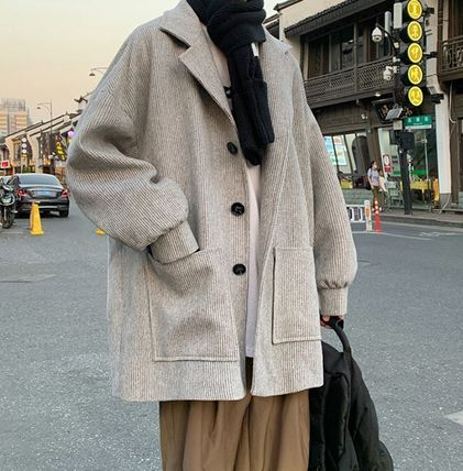 Short Street Style Plain Oversized Peacoats Coats