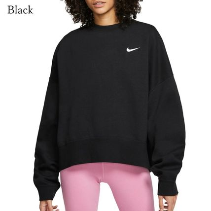 Nike Crew Neck Short Street Style Long Sleeves Plain Cotton