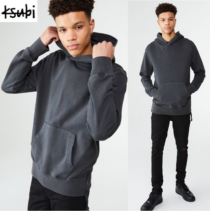 KSUBI Hoodies Pullovers Street Style Long Sleeves Plain Cotton Hoodies