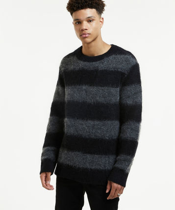 Crew Neck Pullovers Stripes Wool Street Style Long Sleeves