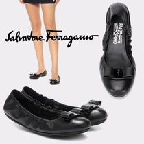 Salvatore Ferragamo Blended Fabrics Plain Leather Logo Ballet Shoes