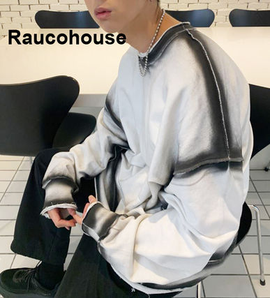 Raucohouse Sweatshirts Unisex Long Sleeves Plain Cotton Sweatshirts
