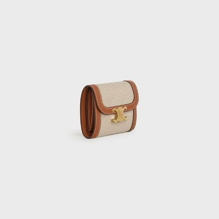 Small Triomphe Wallet In Textile And Natural Calfskin