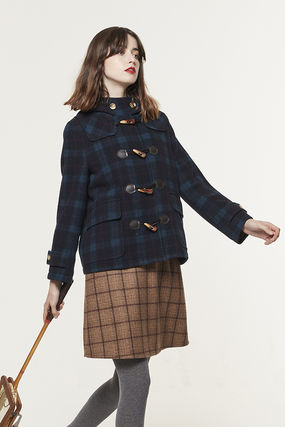 Miss Patina Short Other Plaid Patterns Casual Style Wool Blended Fabrics