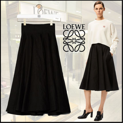 LOEWE Flared Skirts Linen Plain Cotton Medium Midi Skirts