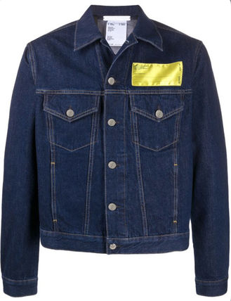 Logo Denim Unisex Plain Denim Jackets Jackets
