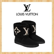 Louis Vuitton Plain Toe Rubber Sole Casual Style Suede Plain Logo