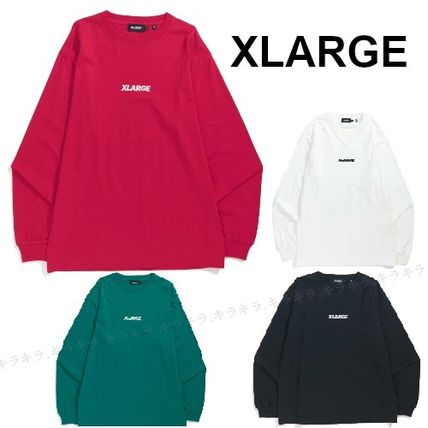 X-Large Long Sleeve Crew Neck Pullovers Street Style Long Sleeves Plain Cotton