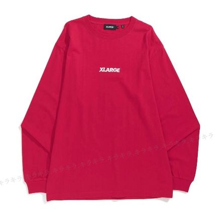 X-Large Long Sleeve Crew Neck Pullovers Street Style Long Sleeves Plain Cotton 2