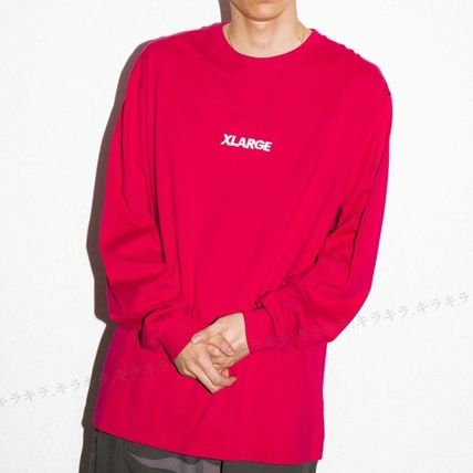 X-Large Long Sleeve Crew Neck Pullovers Street Style Long Sleeves Plain Cotton 3