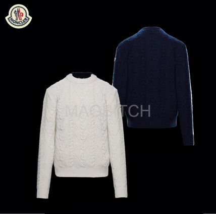 MONCLER Sweaters Pullovers Wool Street Style Long Sleeves Plain Sweaters