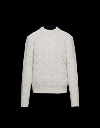 MONCLER Sweaters Pullovers Wool Street Style Long Sleeves Plain Sweaters 2