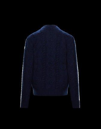 MONCLER Sweaters Pullovers Wool Street Style Long Sleeves Plain Sweaters 3