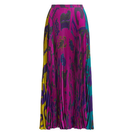 Flared Skirts Casual Style Silk Blended Fabrics