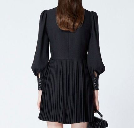 Short Casual Style Long Sleeves Plain High-Neck