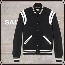 Saint Laurent TEDDY Short Wool Street Style Logo Varsity Jackets