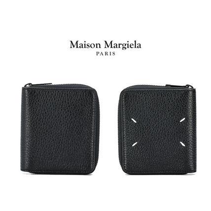 Maison Margiela Unisex Plain Leather Folding Wallet Long Wallet  Logo