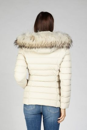Short Nylon Fur Blended Fabrics Plain Logo Down Jackets