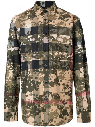 Burberry Other Plaid Patterns Camouflage Long Sleeves Cotton Luxury