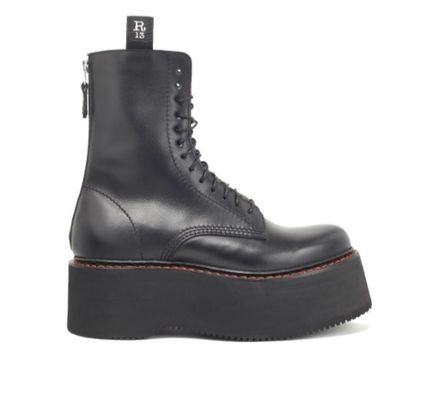 Platform Lace-up Casual Style Plain Leather Lace-up Boots